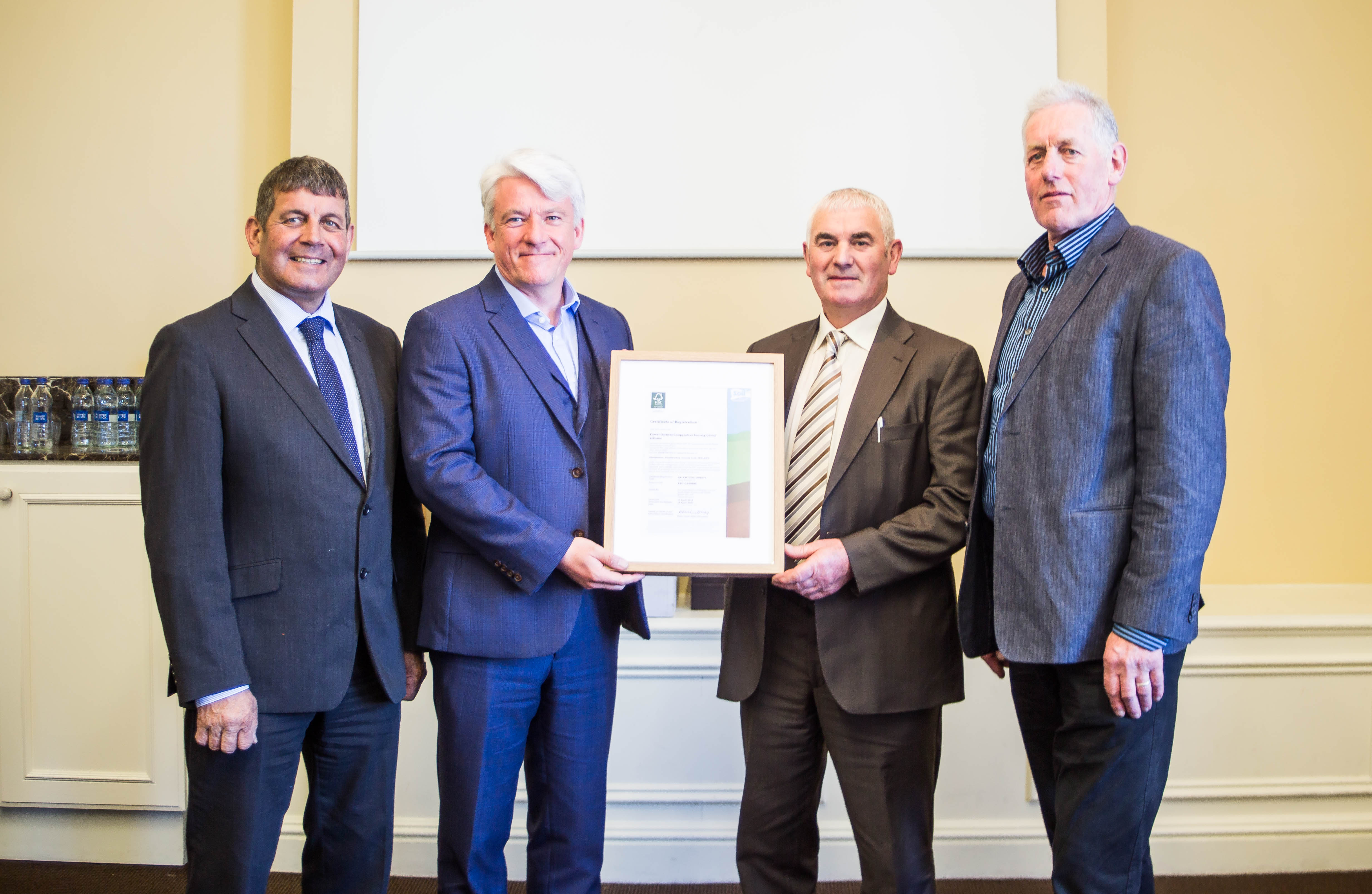 Presentation of Group Certificate to FOCS by Andy Grundy of Soil Association Association in the presence of Minister of State, Andrew Doyle, TD